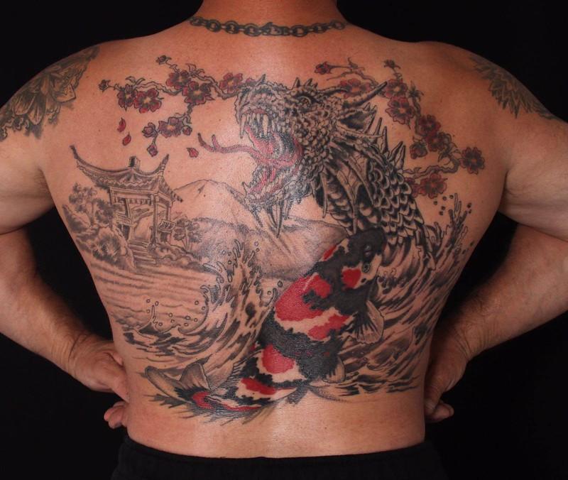 Koi & Dragon backpiece tatoo of Gregor Meyer