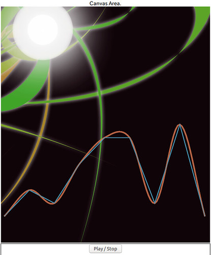 Cubic Hermite Spline Interpolation_SS_(2016_08_01)_1_Cropped_1 黒い背景に水色の角ばった線と橙色の滑らかな曲線が重なりあったグラフとして描かれている。左上には白く光る丸とそこから緑色の曲線が放射されている模様が描かれている。