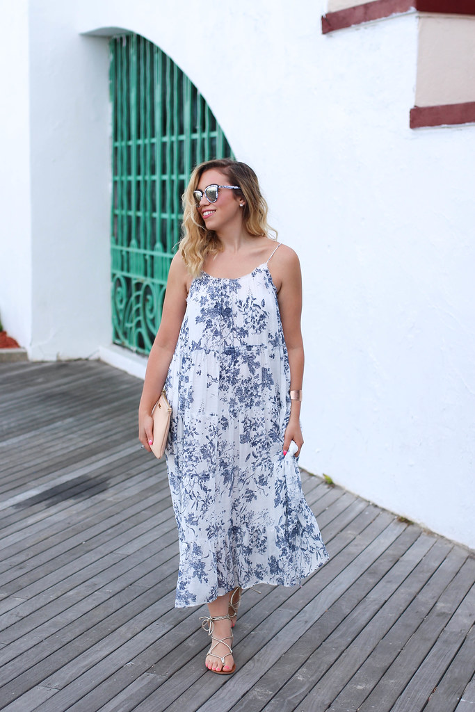 Lulu's Humming Melodies Blue Floral Print Midi Dress | Quay My Girl Mirrored Sunglasses | Steve Madden Gold Lace Up Sandals | Playland Boardwalk Rye NY | Summer Outfit | Living After Midnite by Jackie Giardina