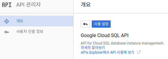 Enable Google Cloud SQL API