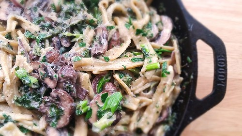 "Homemade ""fusilli"" pasta with crimini mushrooms, spinach, and cream sauce"
