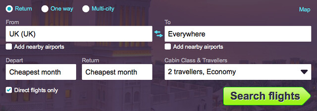 Skyscanner search UK to Everywhere
