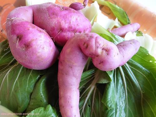 rosa Süßkartoffel und Pak Choi