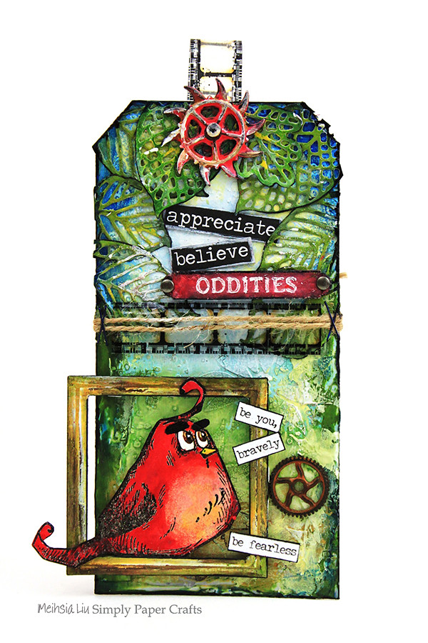 Meihsia Liu Simply Paper Crafts Mixed Media Tag Angry Bird Moive Inspiration Simon Says Stamp Monday Challenge Tim Holtz 600