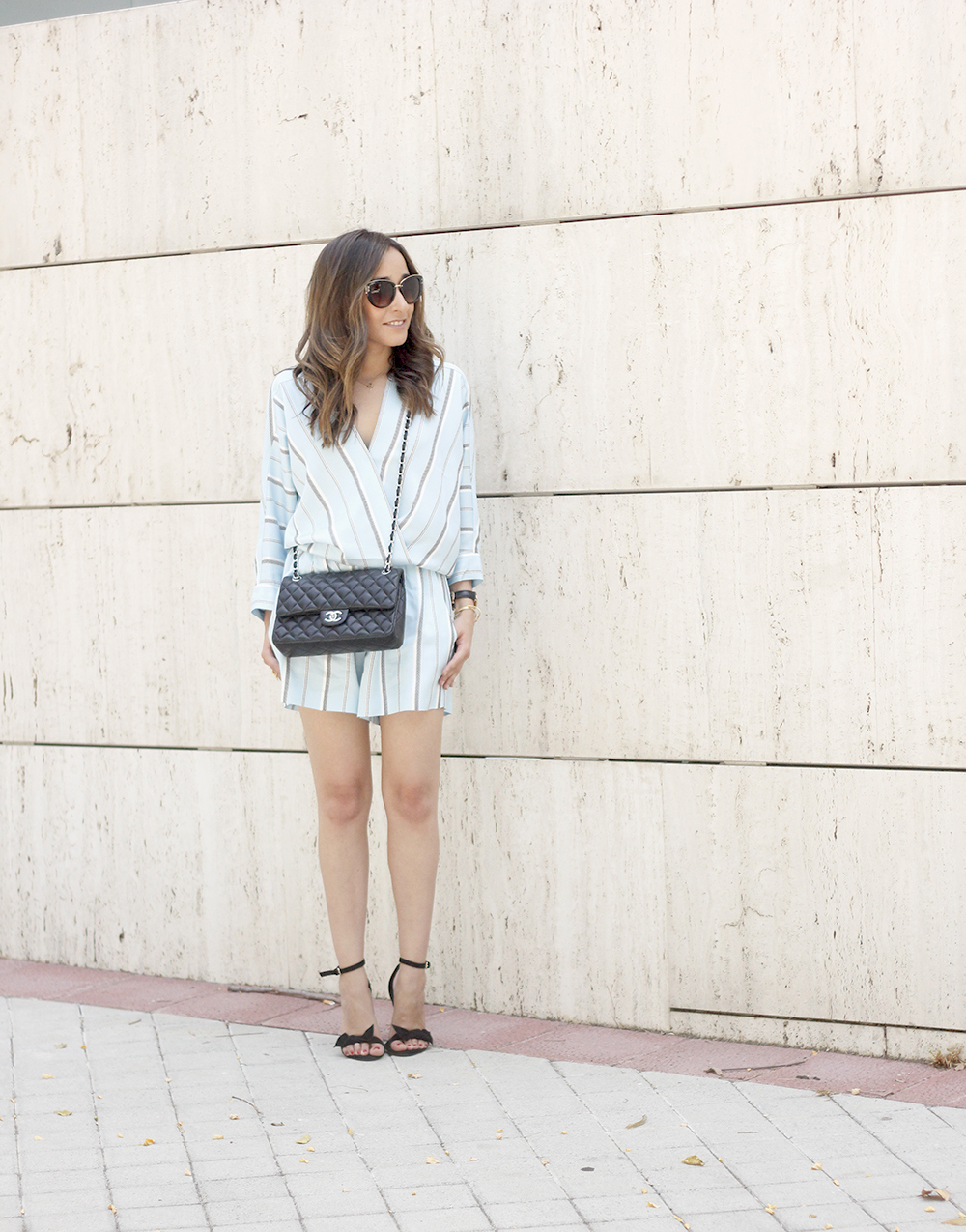 Maje Jumpsuit with stripes black heels chanel bag summer outfit street style fashion02