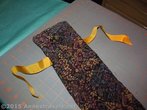 DIY adult size seat belt pillow, right side out