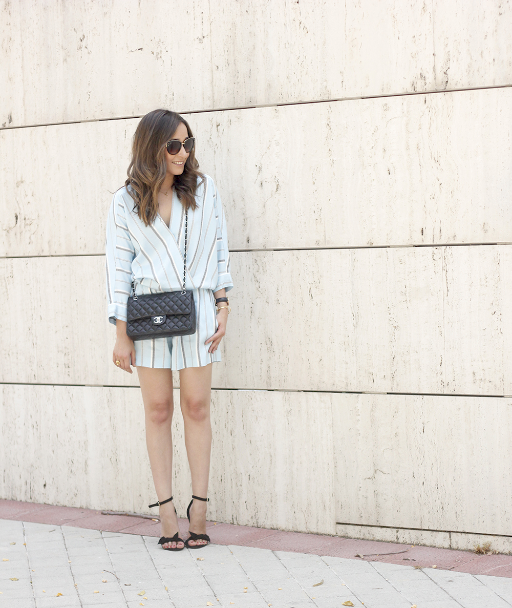 Maje Jumpsuit with stripes black heels chanel bag summer outfit street style fashion03