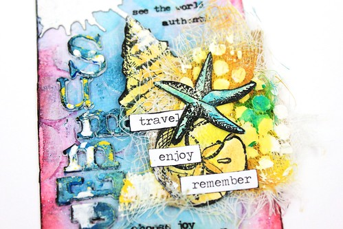Meihsia liu simply paper crafts mixd media tag smmer tim holtz Simon Says stamp Monday challenge 6