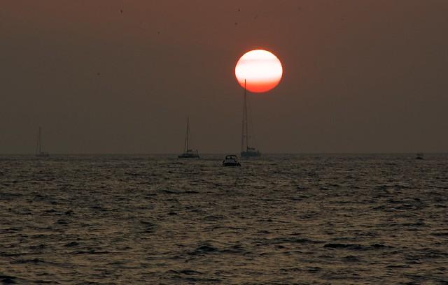 Sun sets in Santorini