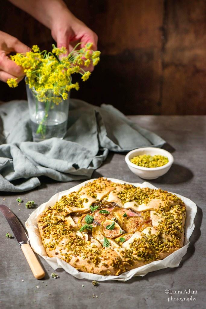 Gallette ai pistacchi con fichi e miele