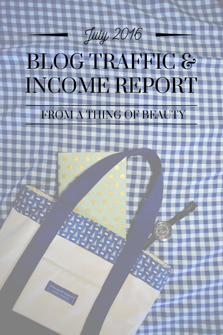 July 2016 Blog Income and Traffic Stats