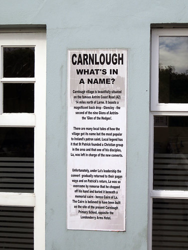 A sign explaining the name of Carnlough, a small town on the Coastal Causeway Route of Ireland, UK