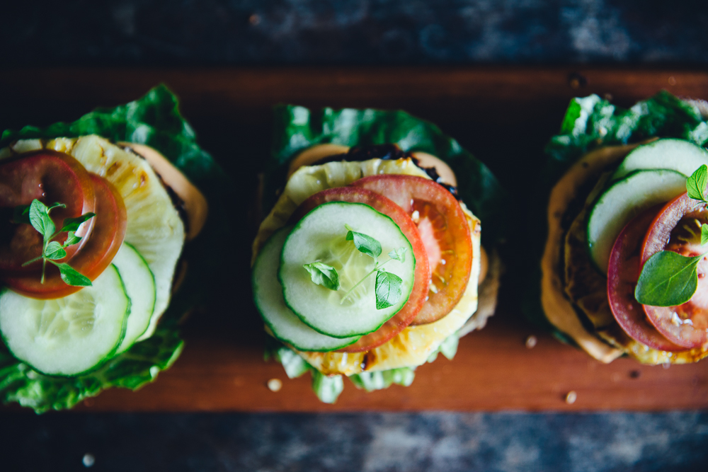 Vegan Black Rice Burgers with Grilled Pineapple & Cashew Chili Mayo   Cashew Kitchen