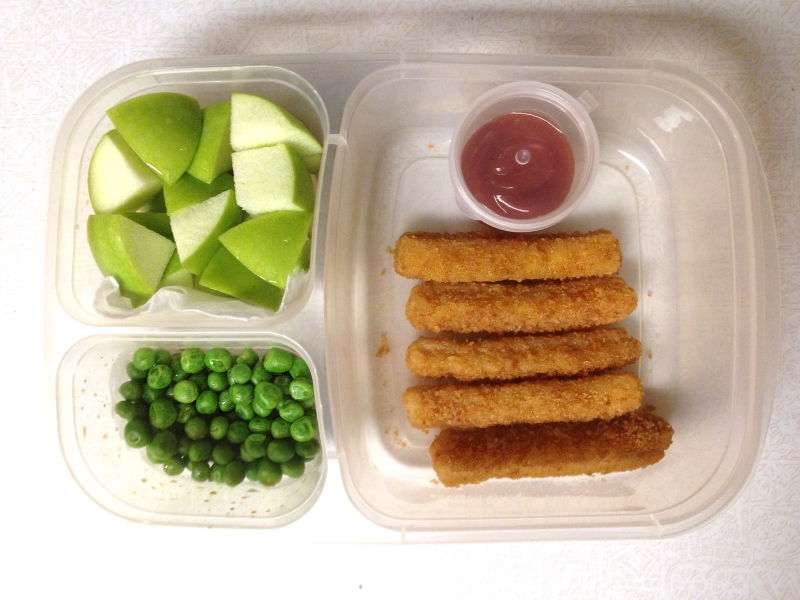 Fish sticks, apples, & green  peas