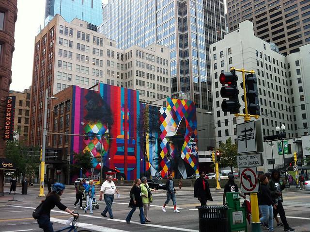 Dylan mural in downtown Minneapolis