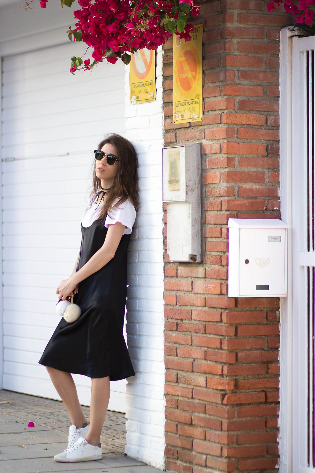 slip dress and t-shirt