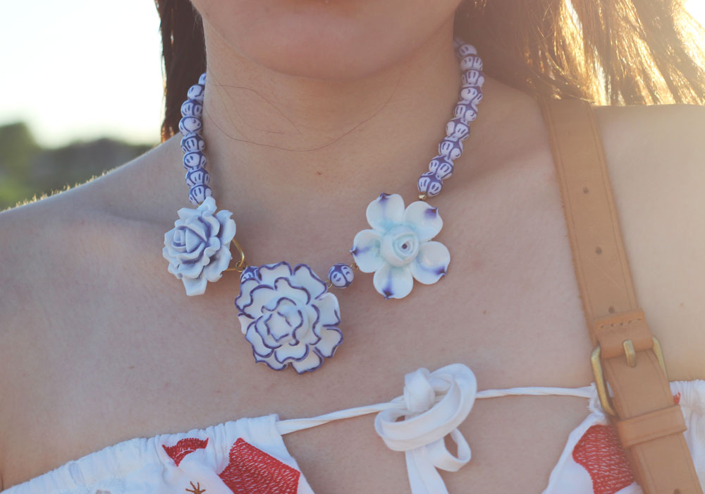 White and blue flower porcelain necklace