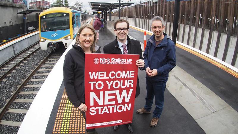 Jacinta Allan, Nick Staikos, Daniel Bowen at Mckinnon station, 1/8/2016