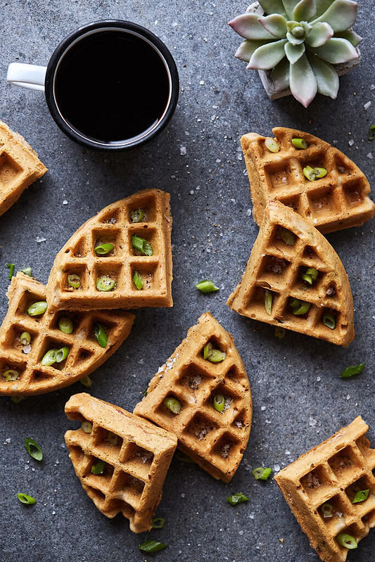 Savory Cassava Flour Waffles with Bacon and Scallions {Paleo, Gluten-free}