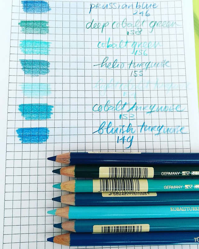Testpage of FaberCastell Polychromos in buehues. Got them after the last @artsupplyposse podcast in which they discuss the various colored pencils with wax and oil based leds. #artsupplyposse #colorpencil
