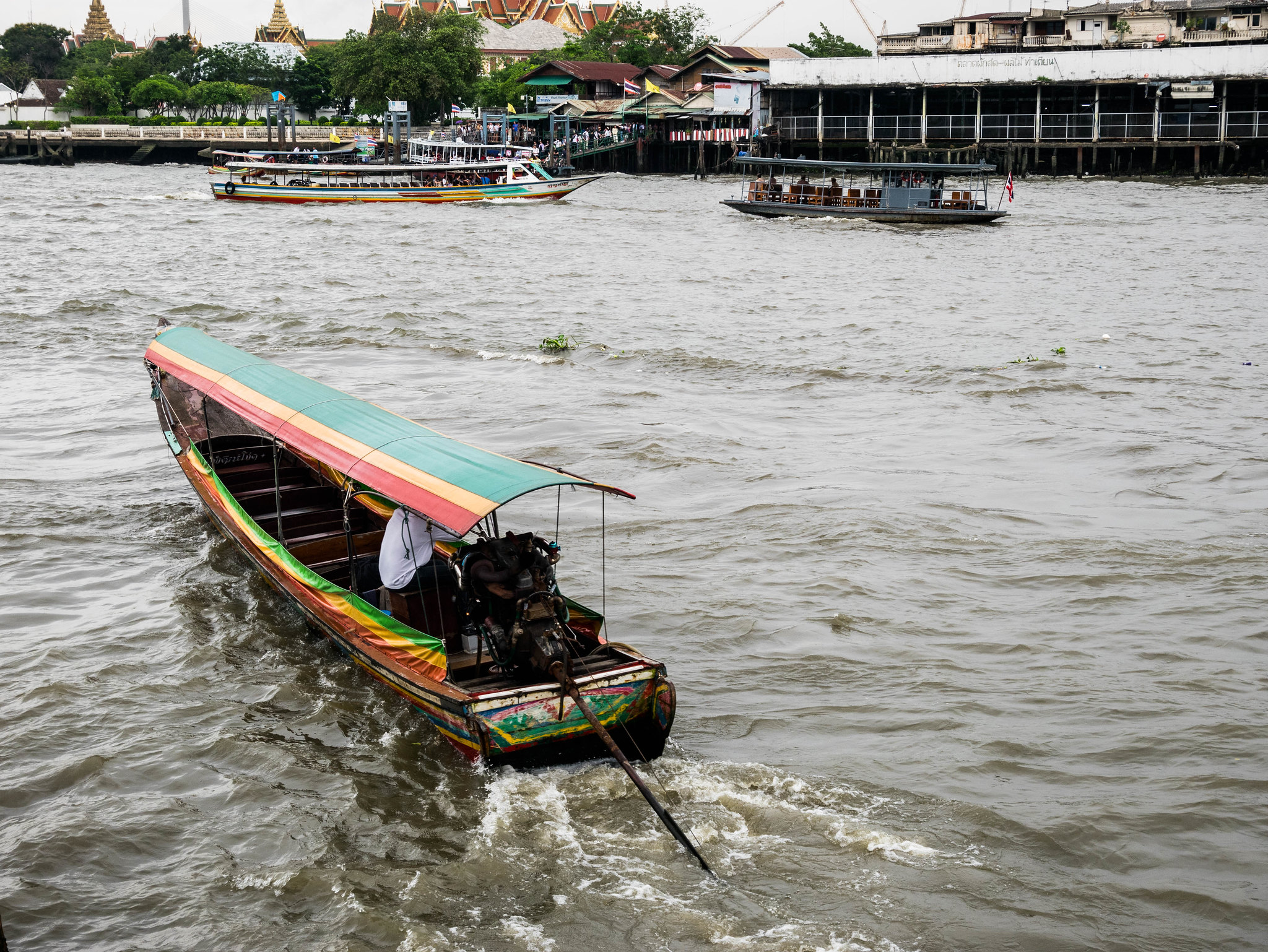 Speed boat on Chao Phraya river in Bangkok
