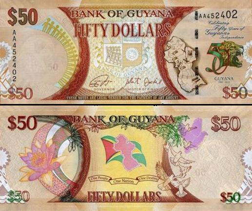 50 dolárov Guyana 2016, P41 UNC