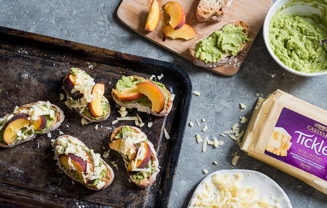 Grilled peach and cheddar avocado crostini