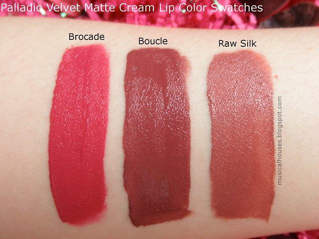 Palladio Velvet Matte Lip Cream Color Swatches Review Boucle Brocade Raw Silk