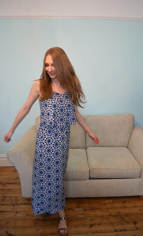 JD Williams Blue Tile Print Maxi Dress 3