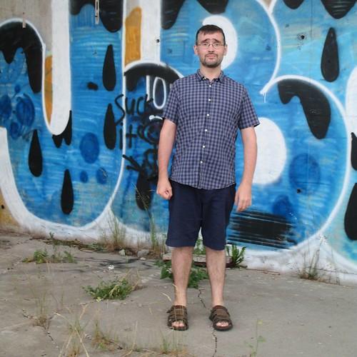 Me by graffiti, assembly yard of the Confederation Bridge #me #selfie #graffiti  #pei #borden #confederation bridge