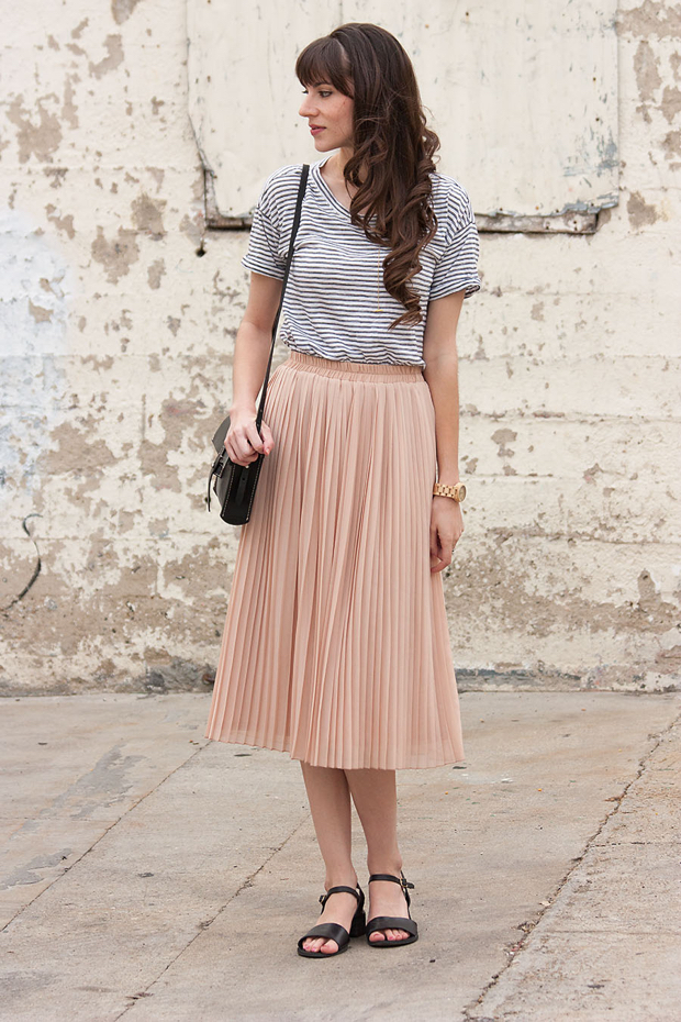 Blush Pleated Skirt, Striped Skirt, Jord Watch