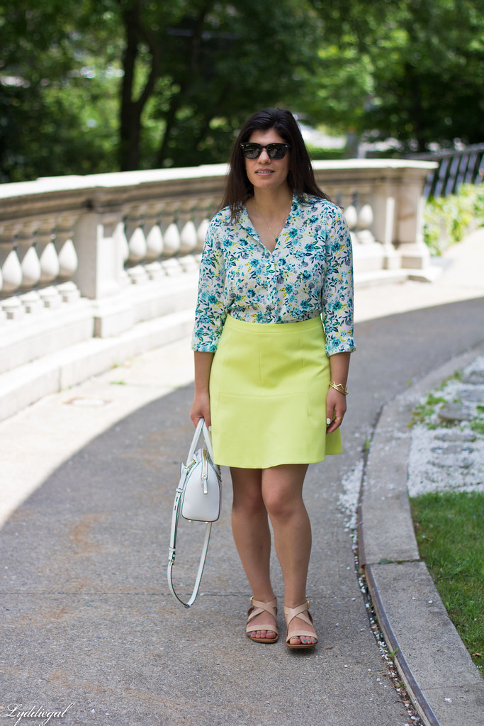 floral blouse, neon skirt, white bag, gorjana vista cuff-2.jpg